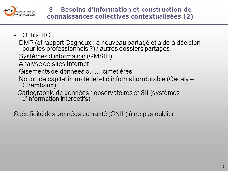 8 3 – Besoins dinformation et construction de connaissances collectives contextualisées (2) -Outils TIC : DMP (cf rapport Gagneux : à nouveau partagé
