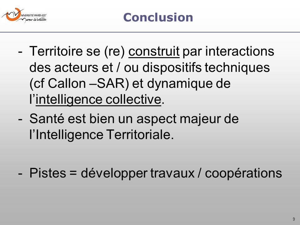 9 Conclusion -Territoire se (re) construit par interactions des acteurs et / ou dispositifs techniques (cf Callon –SAR) et dynamique de lintelligence