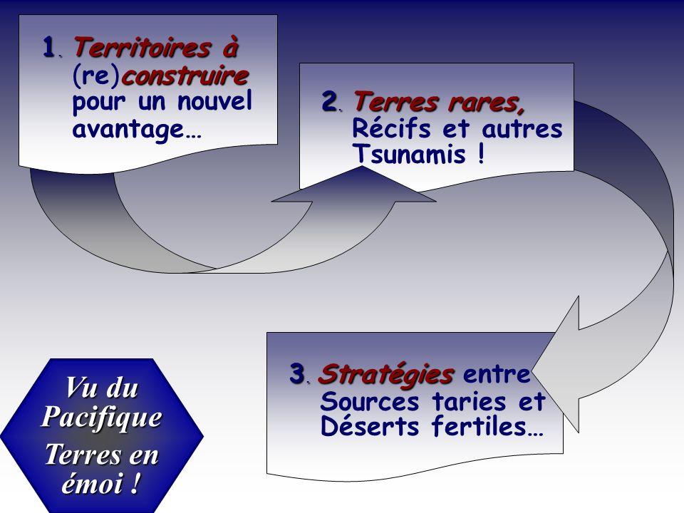 Vu du Pacifique Terres en émoi ! 3. Stratégies 3. Stratégies entre Sources taries et Déserts fertiles… 2. Terres rares, 2. Terres rares, Récifs et aut