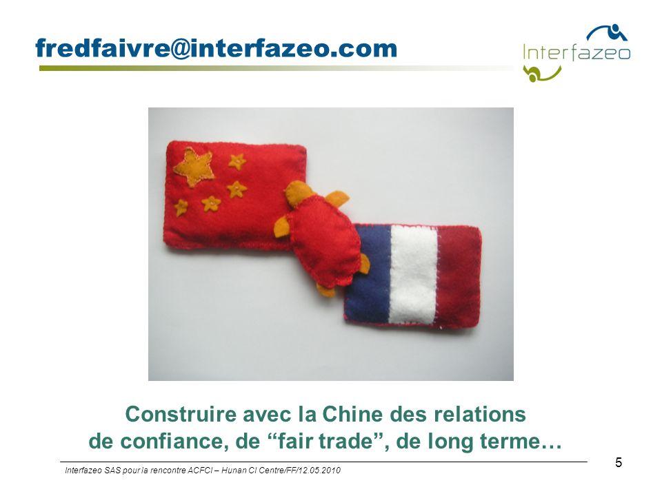 5 fredfaivre@interfazeo.com Interfazeo SAS pour la rencontre ACFCI – Hunan CI Centre/FF/12.05.2010 Construire avec la Chine des relations de confiance