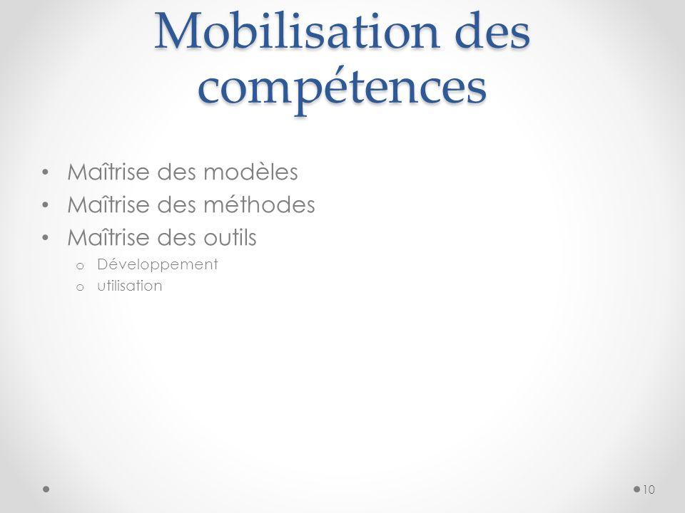 Mobilisation des compétences Maîtrise des modèles Maîtrise des méthodes Maîtrise des outils o Développement o utilisation 10