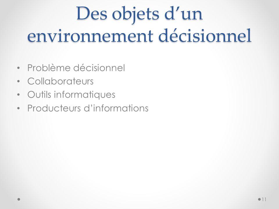 Des objets dun environnement décisionnel Problème décisionnel Collaborateurs Outils informatiques Producteurs dinformations 11