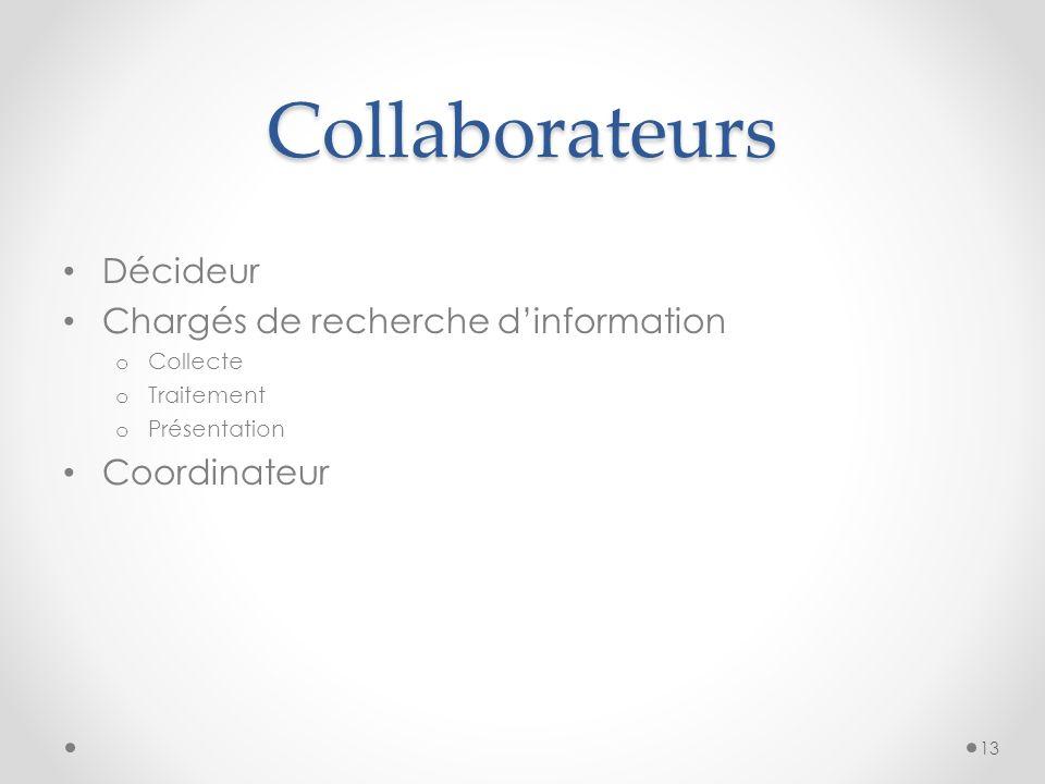 Collaborateurs Décideur Chargés de recherche dinformation o Collecte o Traitement o Présentation Coordinateur 13
