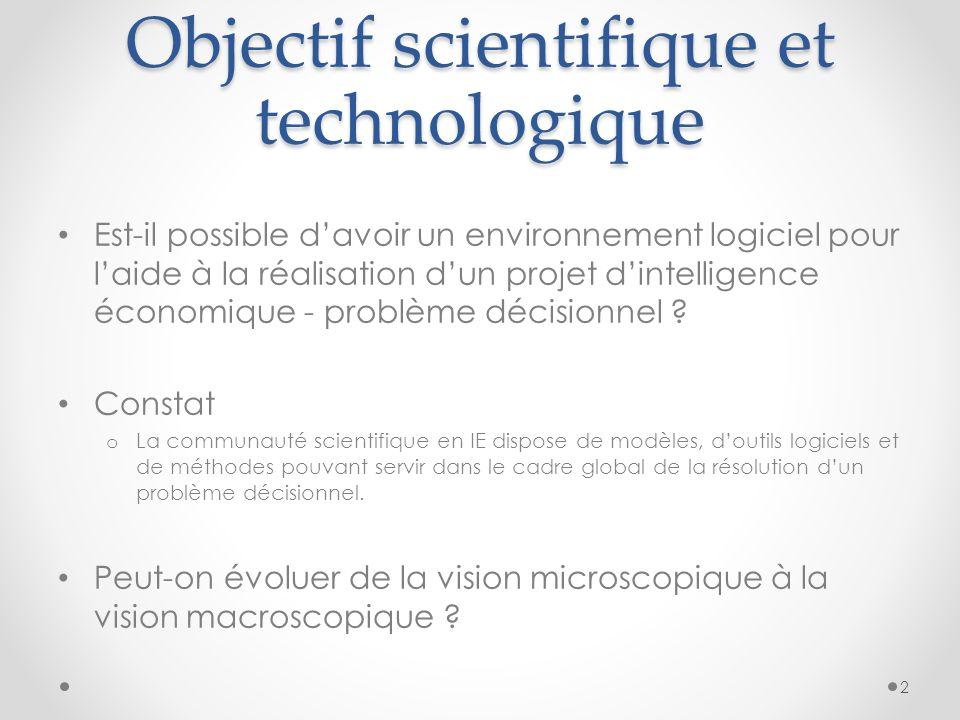 Objectif scientifique et technologique Est-il possible davoir un environnement logiciel pour laide à la réalisation dun projet dintelligence économique - problème décisionnel .