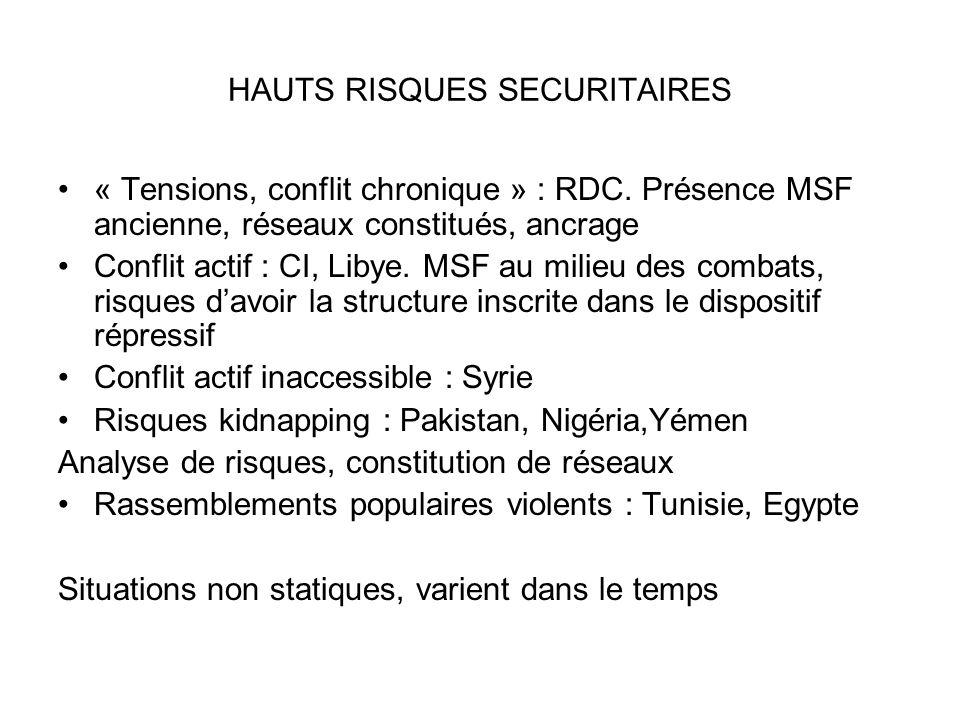 HAUTS RISQUES SECURITAIRES « Tensions, conflit chronique » : RDC. Présence MSF ancienne, réseaux constitués, ancrage Conflit actif : CI, Libye. MSF au