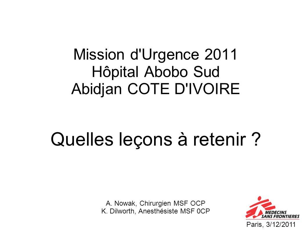Mission d'Urgence 2011 Hôpital Abobo Sud Abidjan COTE D'IVOIRE Quelles leçons à retenir ? Paris, 3/12/2011 A. Nowak, Chirurgien MSF OCP K. Dilworth, A