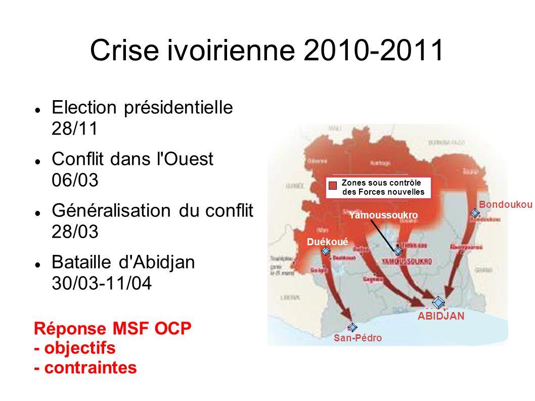 Crise ivoirienne 2010-2011 Election présidentielle 28/11 Conflit dans l'Ouest 06/03 Généralisation du conflit 28/03 Bataille d'Abidjan 30/03-11/04 Rép