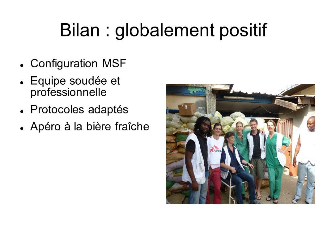Bilan : globalement positif Configuration MSF Equipe soudée et professionnelle Protocoles adaptés Apéro à la bière fraîche
