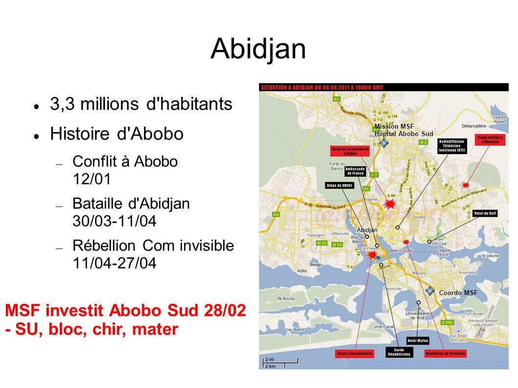 Abidjan 3,3 millions d'habitants Histoire d'Abobo Conflit à Abobo 12/01 Bataille d'Abidjan 30/03-11/04 Rébellion Com invisible 11/04-27/04 Coordo MSF