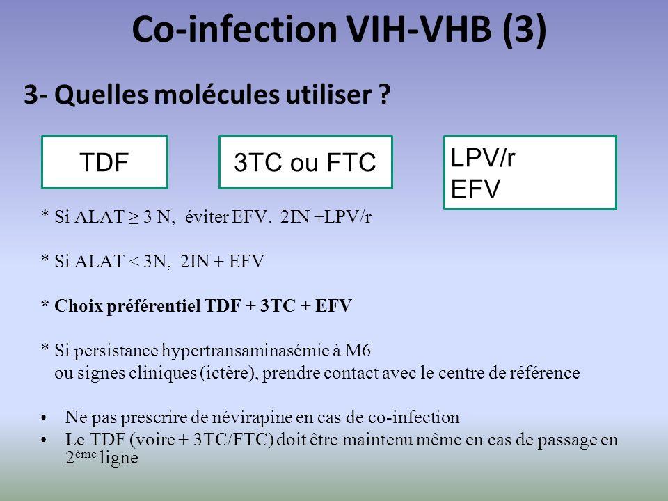 * Si ALAT 3 N, éviter EFV. 2IN +LPV/r * Si ALAT < 3N, 2IN + EFV * Choix préférentiel TDF + 3TC + EFV * Si persistance hypertransaminasémie à M6 ou sig