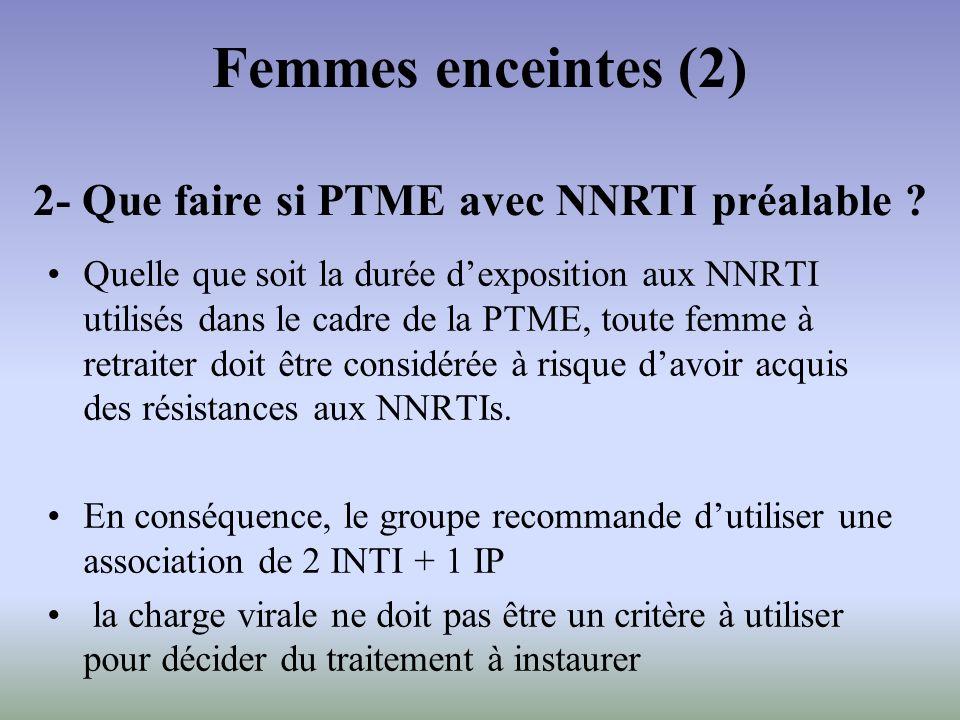 Quelle que soit la durée dexposition aux NNRTI utilisés dans le cadre de la PTME, toute femme à retraiter doit être considérée à risque davoir acquis