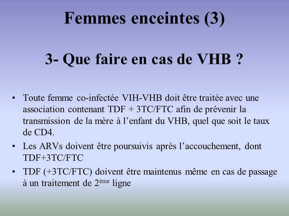 Toute femme co-infectée VIH-VHB doit être traitée avec une association contenant TDF + 3TC/FTC afin de prévenir la transmission de la mère à lenfant d