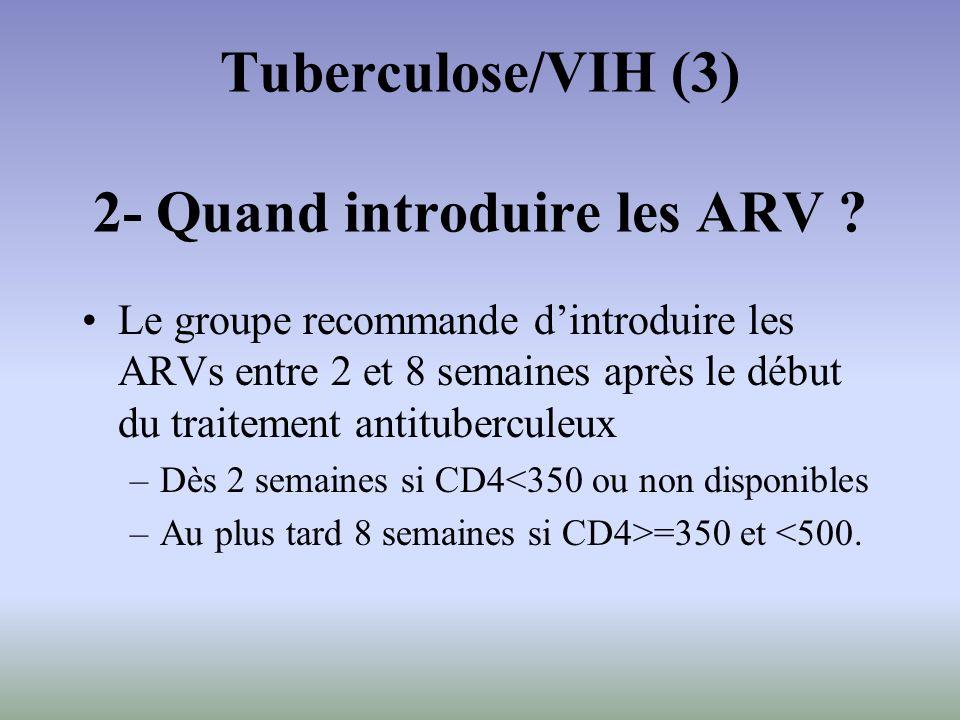 Le groupe recommande dintroduire les ARVs entre 2 et 8 semaines après le début du traitement antituberculeux –Dès 2 semaines si CD4<350 ou non disponi