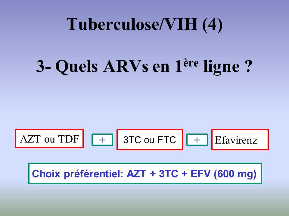 AZT ou TDF Efavirenz Choix préférentiel: AZT + 3TC + EFV (600 mg) 3TC ou FTC ++ Tuberculose/VIH (4) 3- Quels ARVs en 1 ère ligne ?