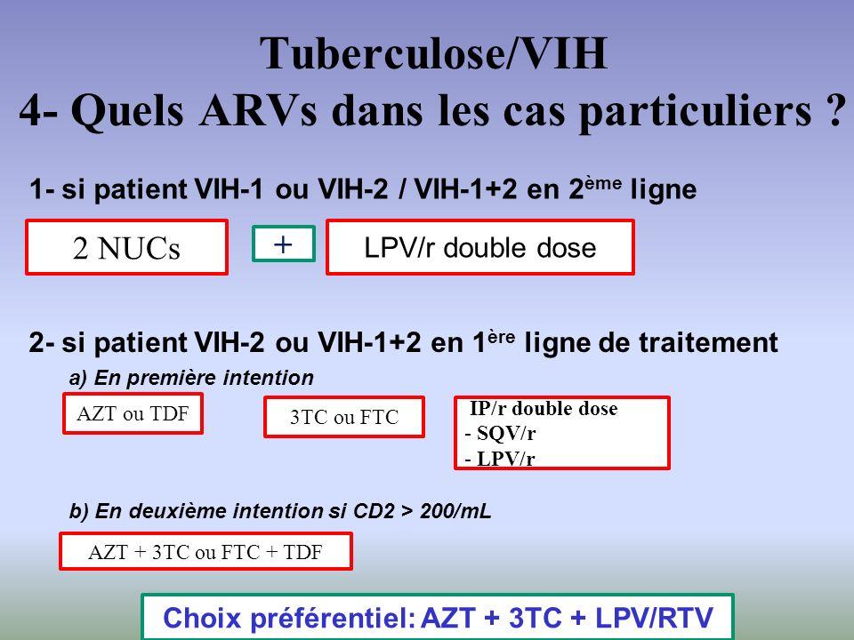 Tuberculose/VIH 4- Quels ARVs dans les cas particuliers ? 1- si patient VIH-1 ou VIH-2 / VIH-1+2 en 2 ème ligne LPV/r double dose 2 NUCs + 2- si patie