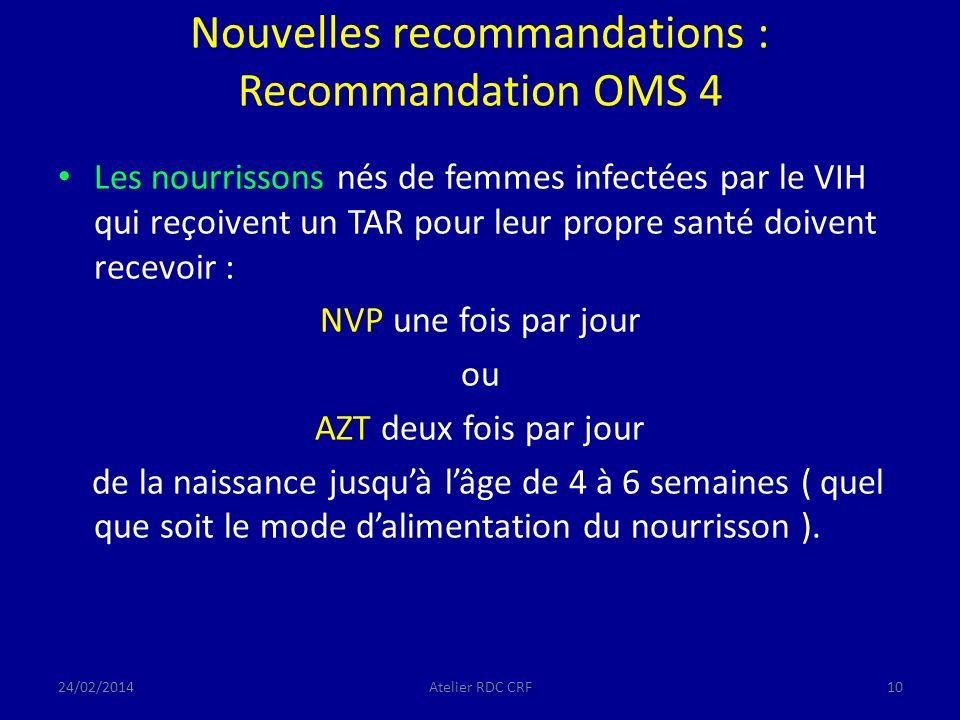 Nouvelles recommandations : Recommandation OMS 4 Les nourrissons nés de femmes infectées par le VIH qui reçoivent un TAR pour leur propre santé doivent recevoir : NVP une fois par jour ou AZT deux fois par jour de la naissance jusquà lâge de 4 à 6 semaines ( quel que soit le mode dalimentation du nourrisson ).