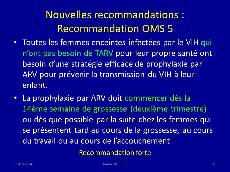 Nouvelles recommandations : Recommandation OMS 5 Toutes les femmes enceintes infectées par le VIH qui nont pas besoin de TARV pour leur propre santé ont besoin dune stratégie efcace de prophylaxie par ARV pour prévenir la transmission du VIH à leur enfant.