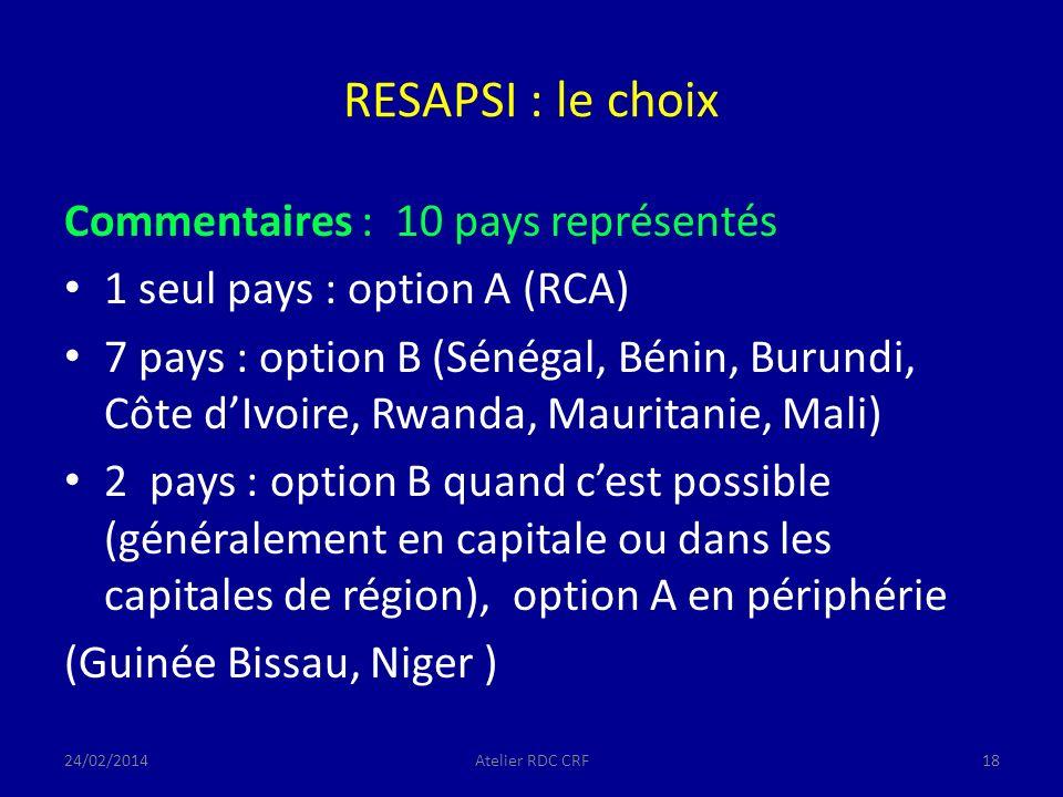 RESAPSI : le choix Commentaires : 10 pays représentés 1 seul pays : option A (RCA) 7 pays : option B (Sénégal, Bénin, Burundi, Côte dIvoire, Rwanda, Mauritanie, Mali) 2 pays : option B quand cest possible (généralement en capitale ou dans les capitales de région), option A en périphérie (Guinée Bissau, Niger ) 24/02/2014Atelier RDC CRF18