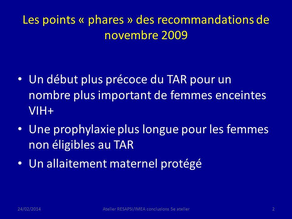 Les points « phares » des recommandations de novembre 2009 Un début plus précoce du TAR pour un nombre plus important de femmes enceintes VIH+ Une prophylaxie plus longue pour les femmes non éligibles au TAR Un allaitement maternel protégé 24/02/2014Atelier RESAPSI/IMEA conclusions 5e atelier2