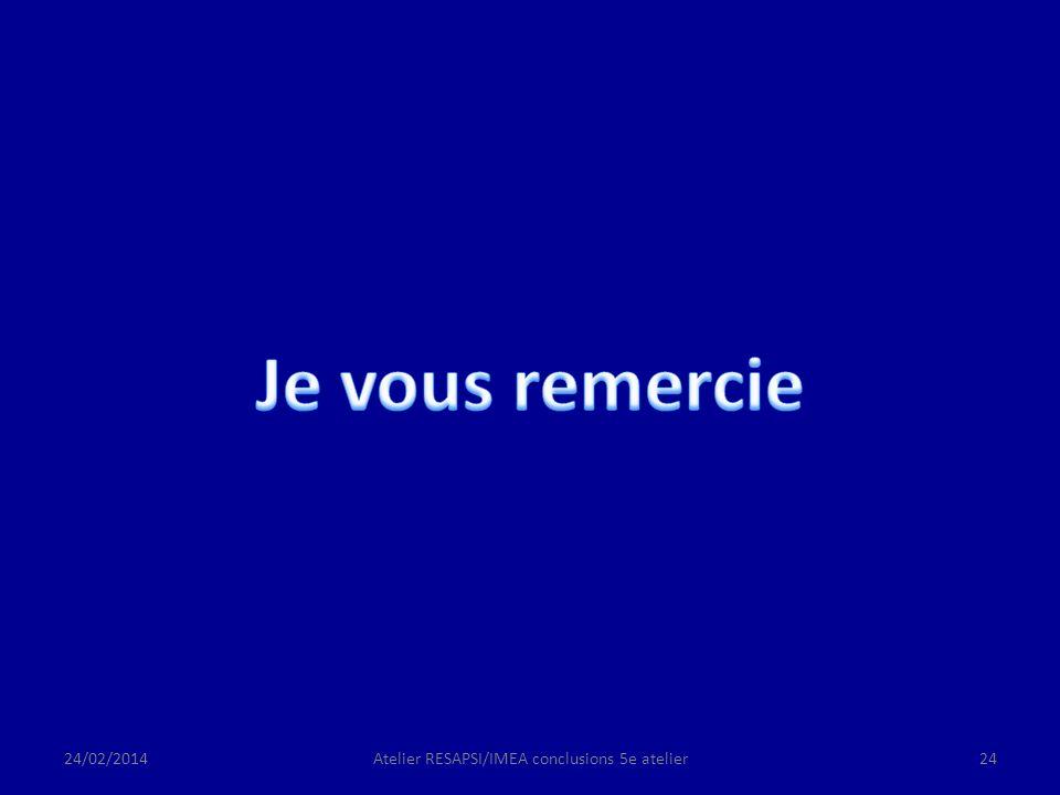 24/02/2014Atelier RESAPSI/IMEA conclusions 5e atelier24