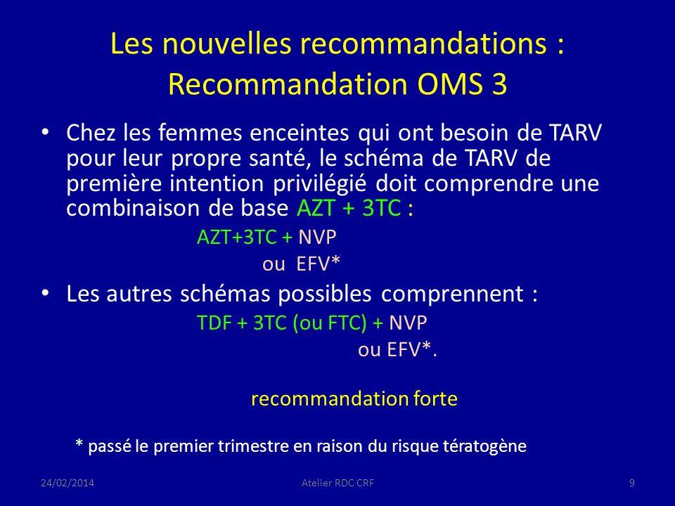 Les nouvelles recommandations : Recommandation OMS 3 Chez les femmes enceintes qui ont besoin de TARV pour leur propre santé, le schéma de TARV de première intention privilégié doit comprendre une combinaison de base AZT + 3TC : AZT+3TC + NVP ou EFV* Les autres schémas possibles comprennent : TDF + 3TC (ou FTC) + NVP ou EFV*.