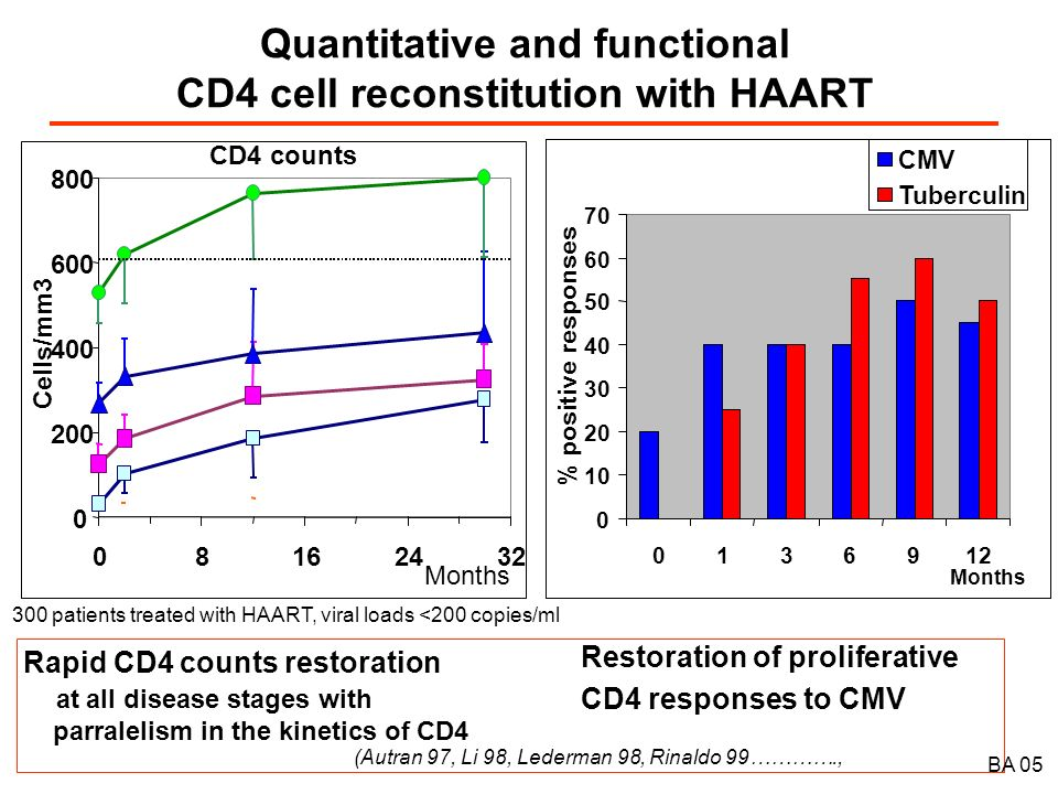 The two phases of CD4 T cell reconstitution with HAART B.A.05 Early Memory T cell Redistribution from lymphoid tissues (Autran 97, Pakker 98, Bucy 99) and Rapid de-activation of the immune system (Autran 97, Lederman 98…) Naive T cell regeneration ensures long term CD4 T cell expansion (Autran 97, Pakker 98, Li 98, Lederman 98) and R e-diversification of T cell repertoires (Gorochov 98) Months 3691218 Total CD4 counts Memory CD4+ cells Naive CD4+ cells 50 100 0 150 Cells/µl VirusImmune activation