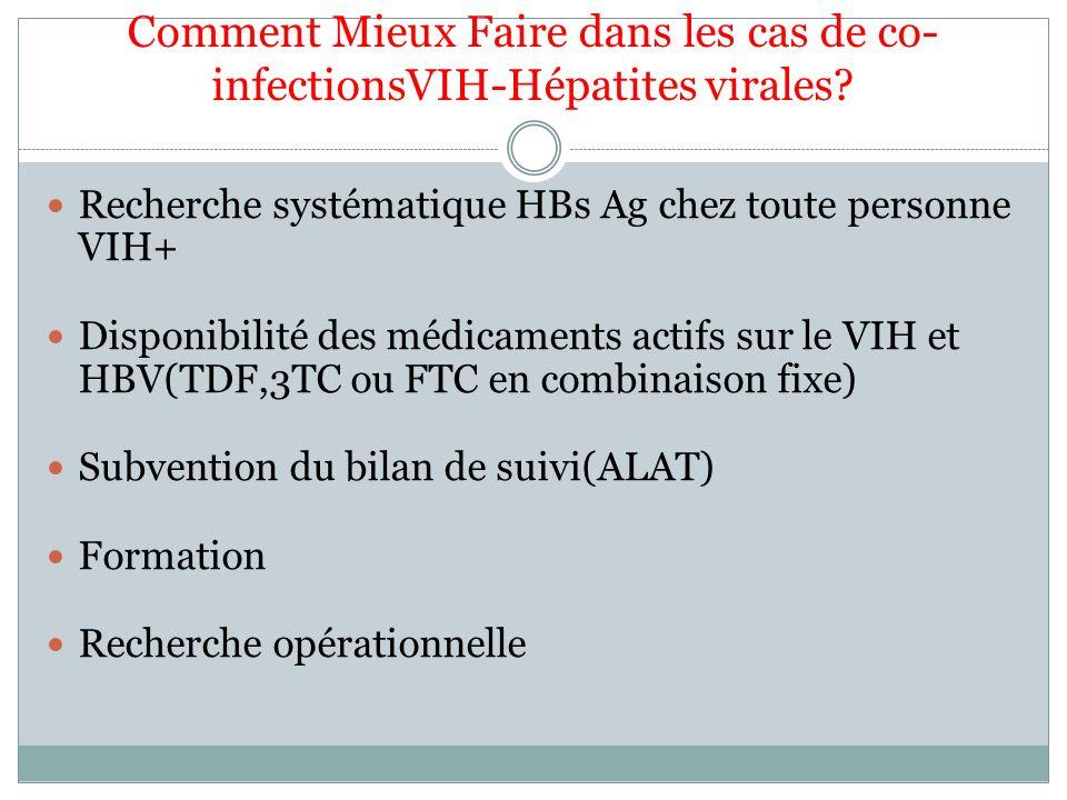 Comment Mieux Faire dans les cas de co- infectionsVIH-Hépatites virales? Recherche systématique HBs Ag chez toute personne VIH+ Disponibilité des médi