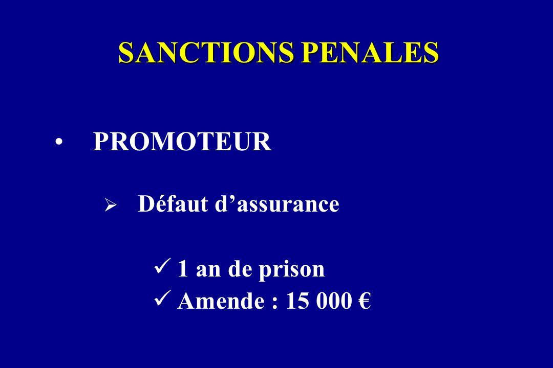 SANCTIONS PENALES PROMOTEUR Défaut dassurance 1 an de prison Amende : 15 000