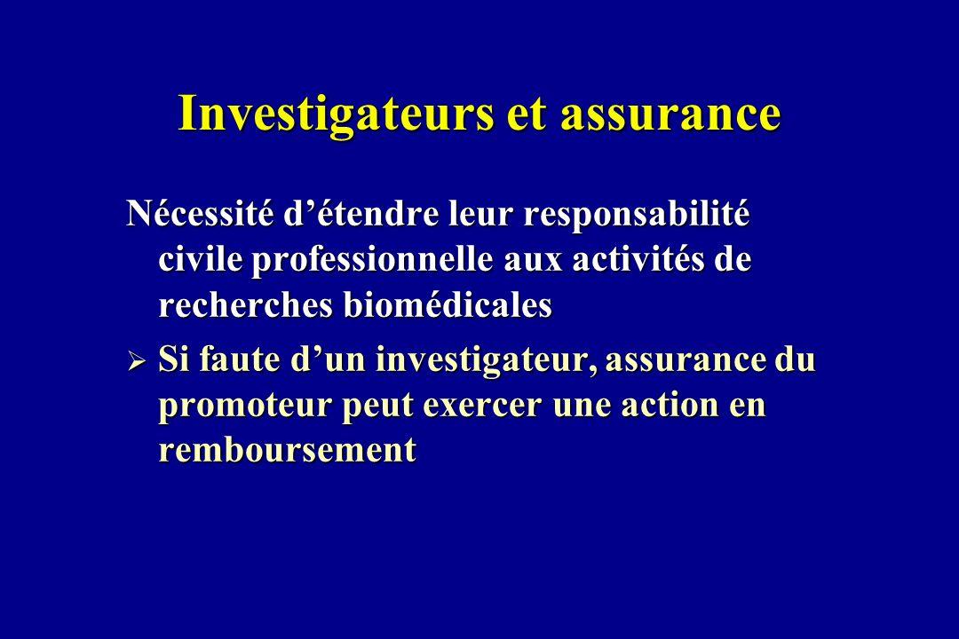 Investigateurs et assurance Nécessité détendre leur responsabilité civile professionnelle aux activités de recherches biomédicales Si faute dun invest