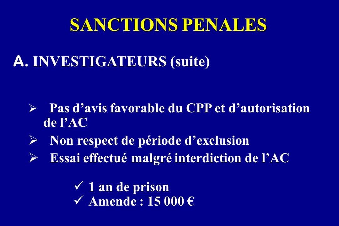 SANCTIONS PENALES A. INVESTIGATEURS (suite) Pas davis favorable du CPP et dautorisation de lAC Non respect de période dexclusion Essai effectué malgré