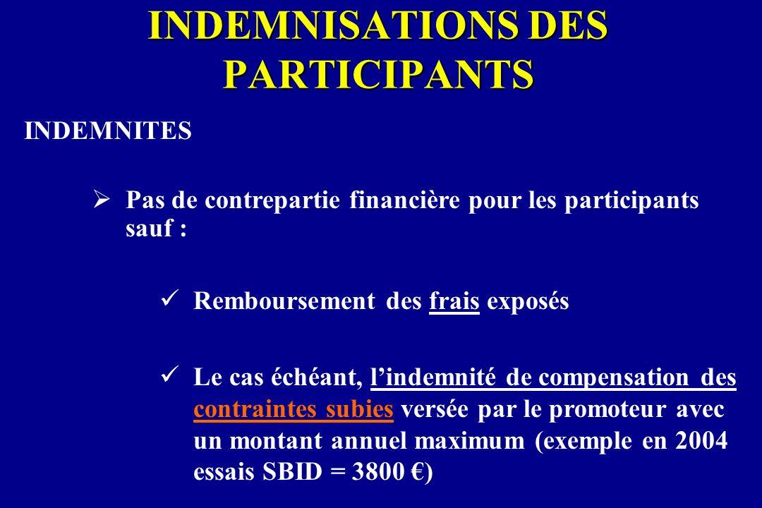 INDEMNISATIONS DES PARTICIPANTS INDEMNITES Pas de contrepartie financière pour les participants sauf : Remboursement des frais exposés Le cas échéant,