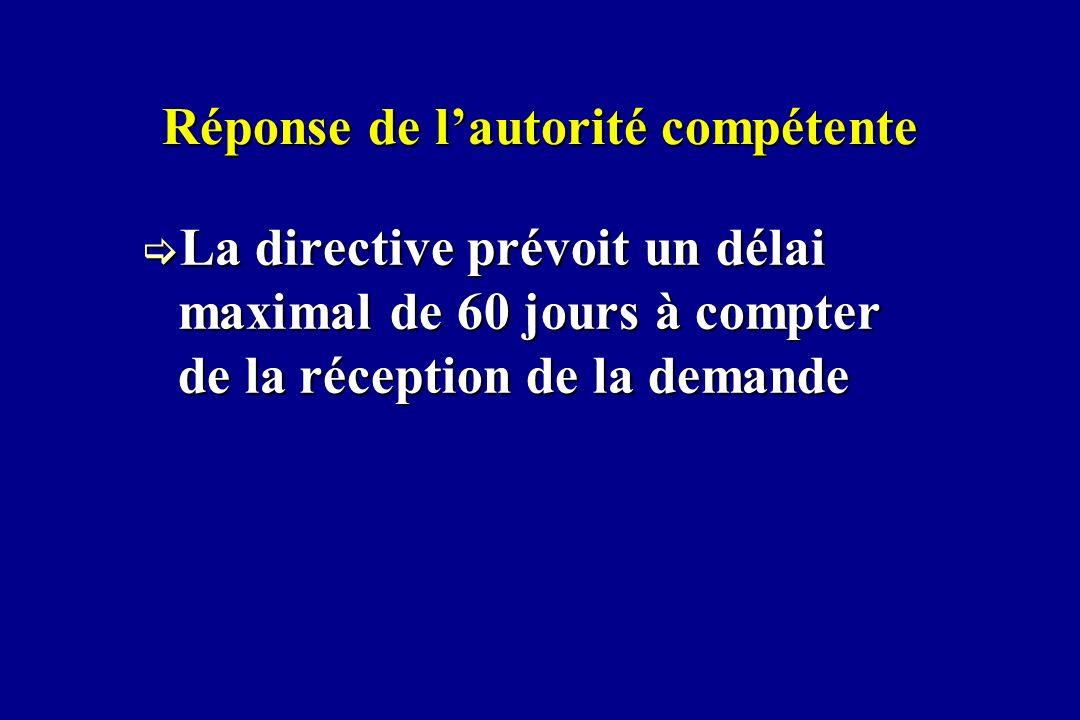 Réponse de lautorité compétente La directive prévoit un délai maximal de 60 jours à compter de la réception de la demande La directive prévoit un déla