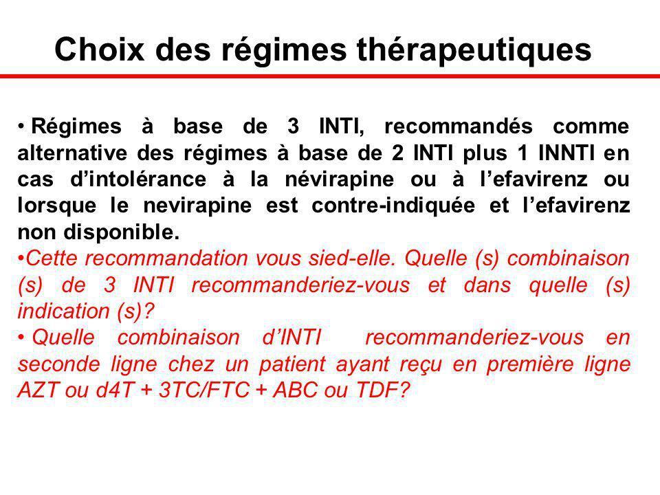 Choix des régimes thérapeutiques Régimes à base de 3 INTI, recommandés comme alternative des régimes à base de 2 INTI plus 1 INNTI en cas dintolérance à la névirapine ou à lefavirenz ou lorsque le nevirapine est contre-indiquée et lefavirenz non disponible.