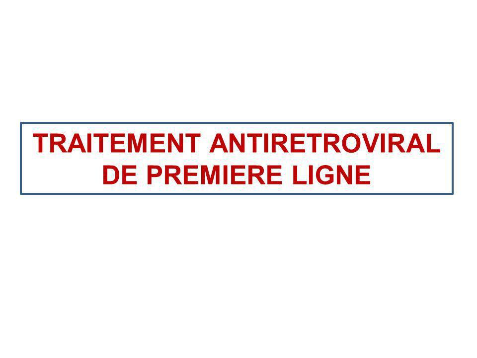 Choix des régimes thérapeutiques * Choix des inhibiteurs nucléosidiques de première ligne : le schéma de première ligne antirétrovirale de lOMS 2010 préconise AZT ou TDF + 3TC ou FTC en raison de leur meilleur profil de tolérance que d4t et la possibilité daméliorer ladhérence.