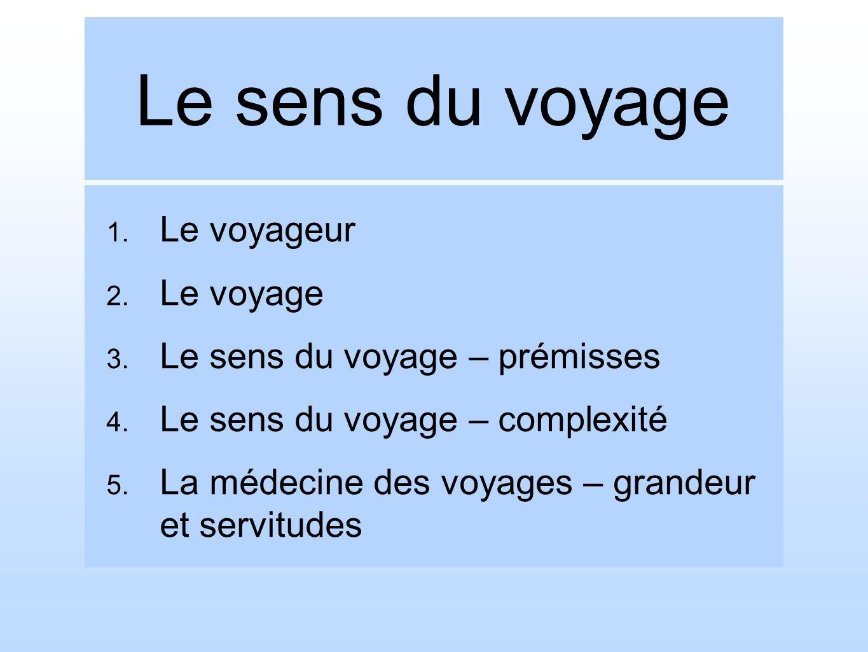 Le sens du voyage 1.Le voyageur 2. Le voyage 3. Le sens du voyage – prémisses 4.
