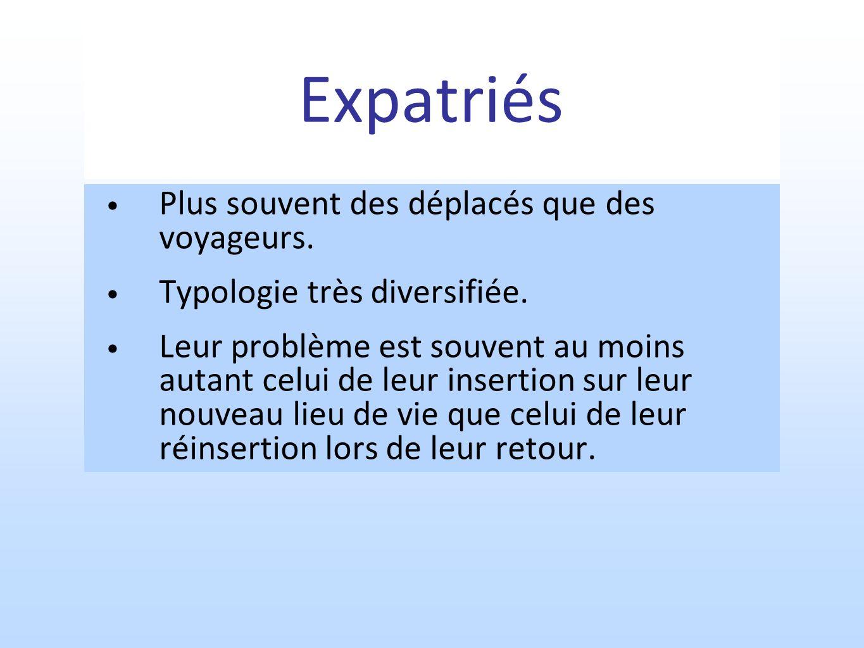 Expatriés Plus souvent des déplacés que des voyageurs.
