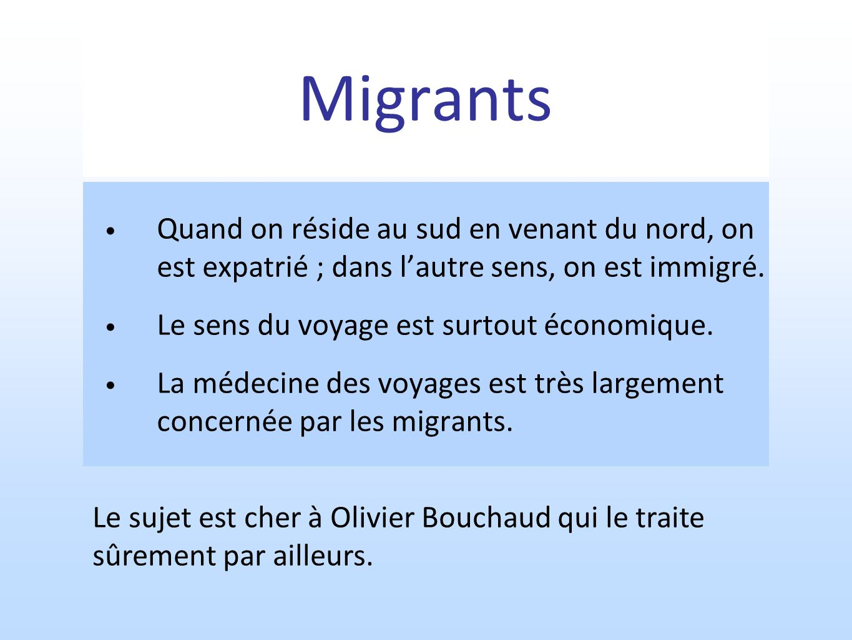 Migrants Quand on réside au sud en venant du nord, on est expatrié ; dans lautre sens, on est immigré. Le sens du voyage est surtout économique. La mé