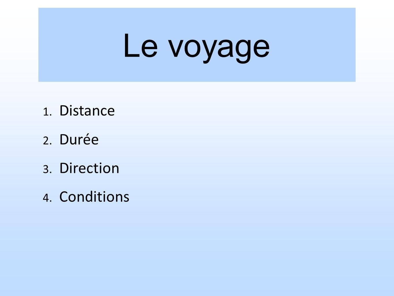 Le voyage 1. Distance 2. Durée 3. Direction 4. Conditions