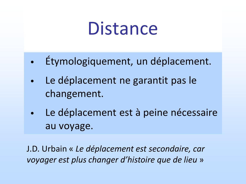 Distance Étymologiquement, un déplacement. Le déplacement ne garantit pas le changement. Le déplacement est à peine nécessaire au voyage. J.D. Urbain