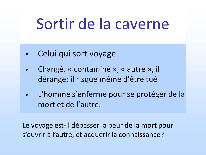 Sortir de la caverne Celui qui sort voyage Changé, « contaminé », « autre », il dérange; il risque même dêtre tué Lhomme senferme pour se protéger de la mort et de lautre.