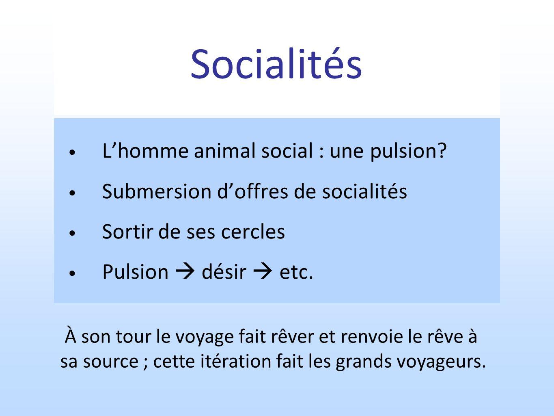 Socialités Lhomme animal social : une pulsion? Submersion doffres de socialités Sortir de ses cercles Pulsion désir etc. À son tour le voyage fait rêv