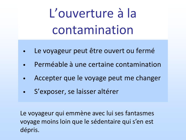 Louverture à la contamination Le voyageur peut être ouvert ou fermé Perméable à une certaine contamination Accepter que le voyage peut me changer Sexp