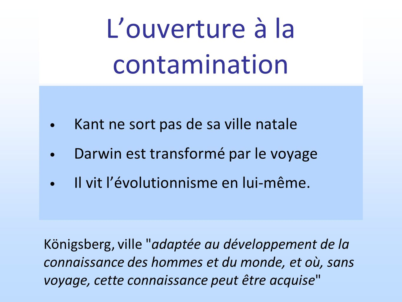 Louverture à la contamination Kant ne sort pas de sa ville natale Darwin est transformé par le voyage Il vit lévolutionnisme en lui-même. Königsberg,
