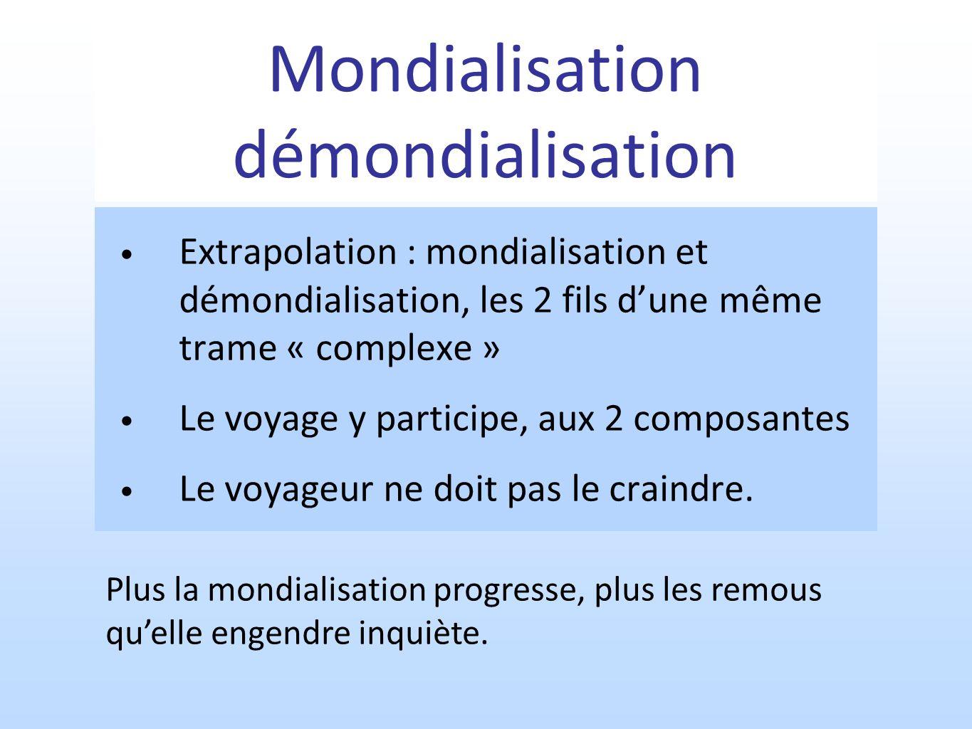 Mondialisation démondialisation Extrapolation : mondialisation et démondialisation, les 2 fils dune même trame « complexe » Le voyage y participe, aux 2 composantes Le voyageur ne doit pas le craindre.