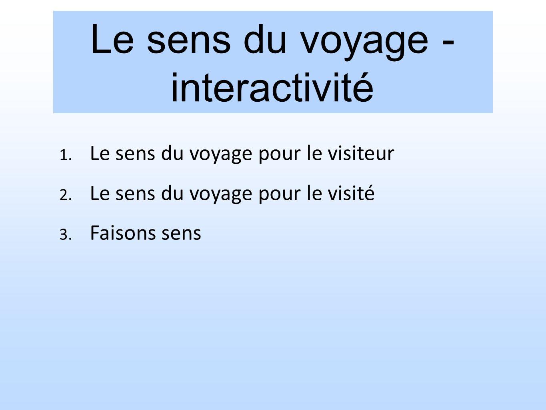 Le sens du voyage - interactivité 1. Le sens du voyage pour le visiteur 2. Le sens du voyage pour le visité 3. Faisons sens