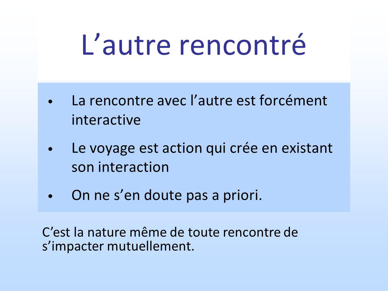 Lautre rencontré La rencontre avec lautre est forcément interactive Le voyage est action qui crée en existant son interaction On ne sen doute pas a priori.
