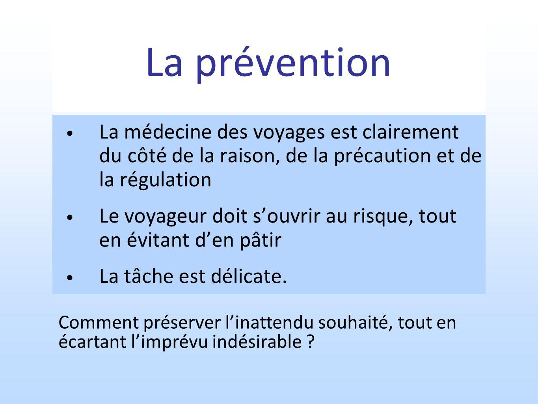 La prévention La médecine des voyages est clairement du côté de la raison, de la précaution et de la régulation Le voyageur doit souvrir au risque, tout en évitant den pâtir La tâche est délicate.
