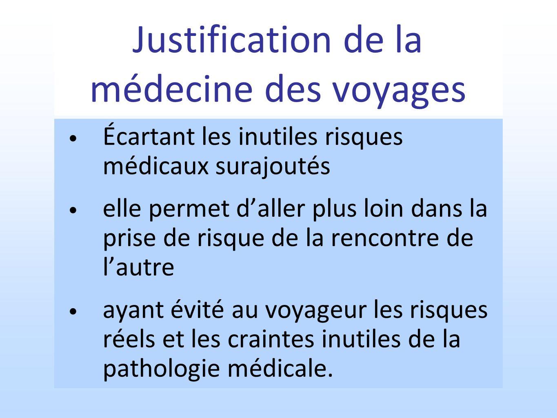 Justification de la médecine des voyages Écartant les inutiles risques médicaux surajoutés elle permet daller plus loin dans la prise de risque de la