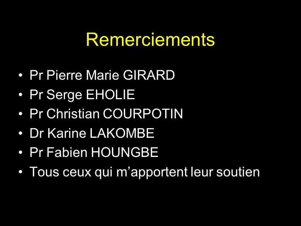 Remerciements Pr Pierre Marie GIRARD Pr Serge EHOLIE Pr Christian COURPOTIN Dr Karine LAKOMBE Pr Fabien HOUNGBE Tous ceux qui mapportent leur soutien