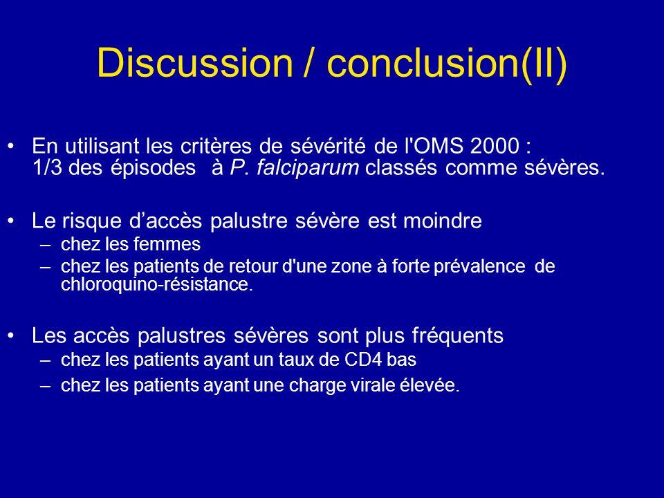 Discussion / conclusion(II) En utilisant les critères de sévérité de l'OMS 2000 : 1/3 des épisodes à P. falciparum classés comme sévères. Le risque da